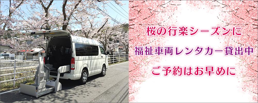 桜の行楽シーズンに福祉車両レンタカー貸出中!ご予約はお早めに